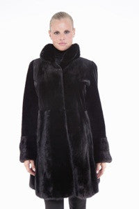 Sheared Mink 3/4 Coat with Mink Collar and Skirt - Style 6375