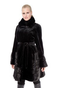 Sheared Mink with Mink Collar and Mink Tiered Hem 3/4 Coat - Style 9522