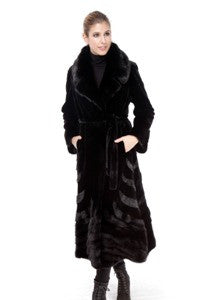 Black Sheared Mink Coat with Mink Collar and Design - Style 6344