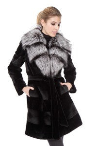 Black Sheared Horizontal Mink 3/4 Coat with Silver Fox - Style 9591