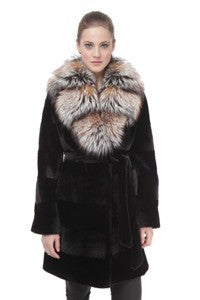 Black Sheared Horizontal Mink With Crystal Silver Fox - Style 9591