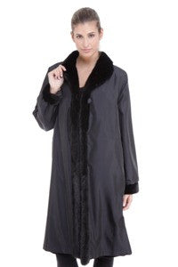 Black Sheared Mink 7/8 Coat Reversible to Taffeta with Mink Tuxedo Trim - Style 1281
