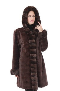 Maple Horizontal Micro-Sheared Mink with Chinchilla Trim Reversible to Taffeta - Style 6619