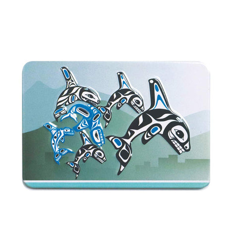 Embossed Metal Magnet - Orca Family