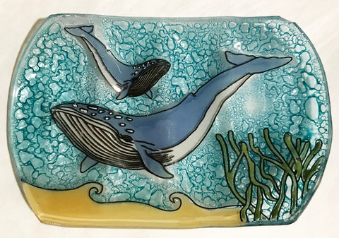 Humpback Whale Fused Wavy Glass Dish