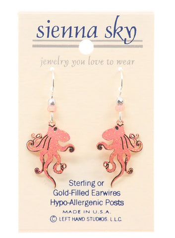 Coral Pink Octopus Earrings