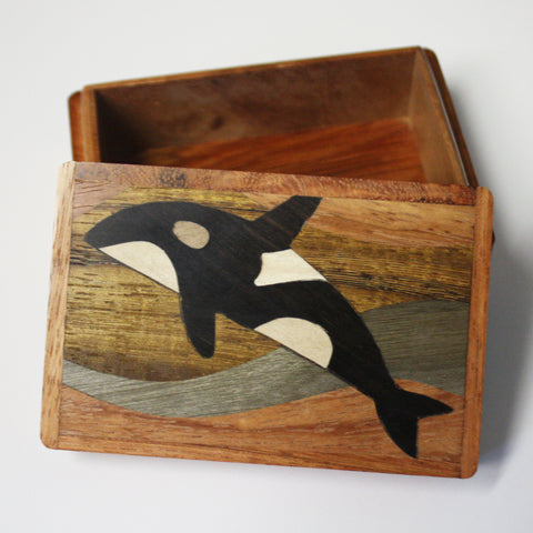 Wooden Box Orca Whale