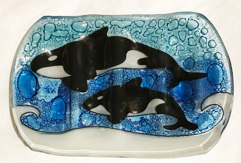 Orca: Mom & Calf Fused Wavy Glass Dish