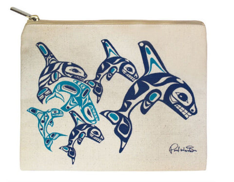 Canvas Zippered Pouch, Orca Family