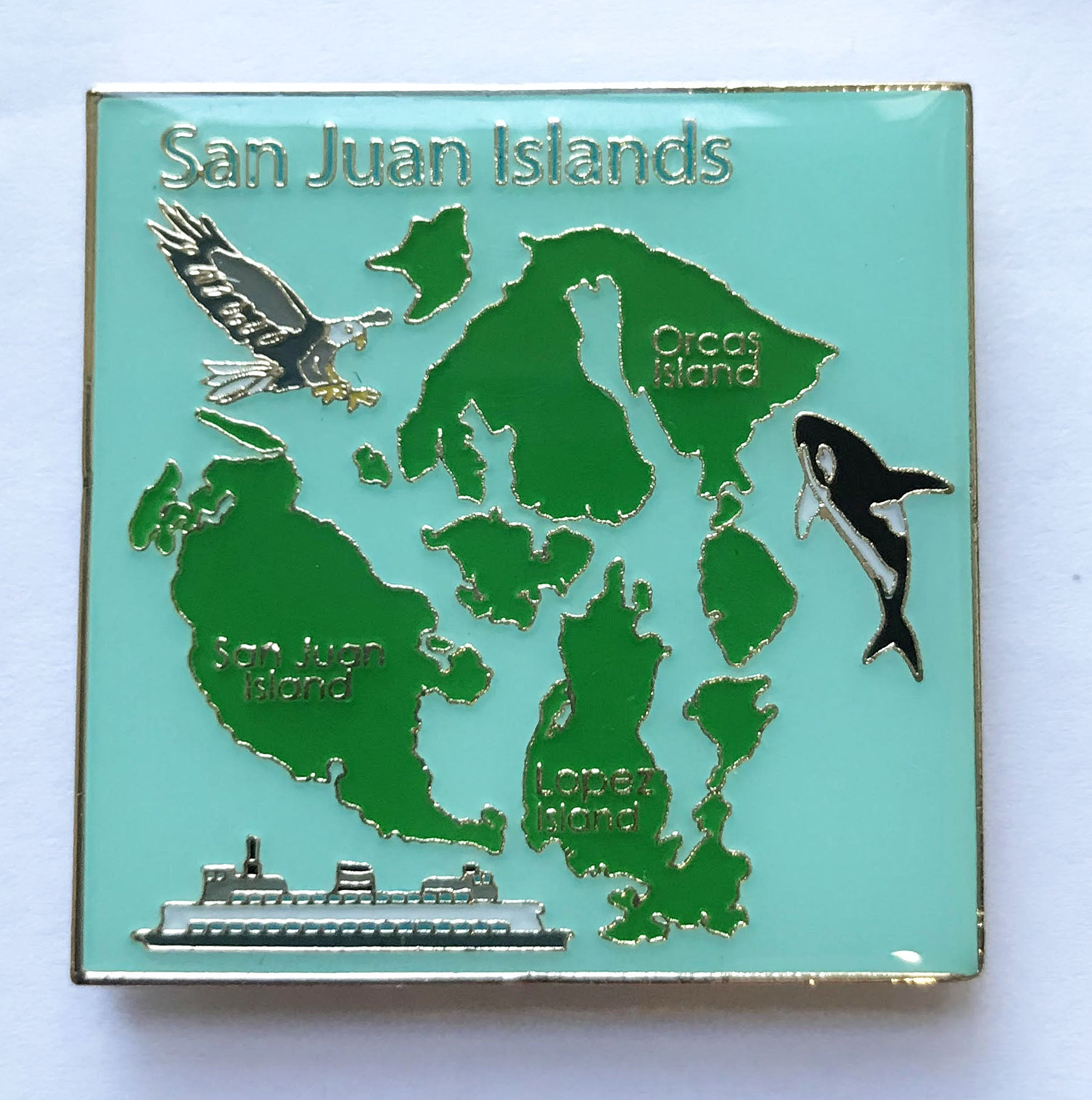 San Jusn Island Map W/Orca Magnet