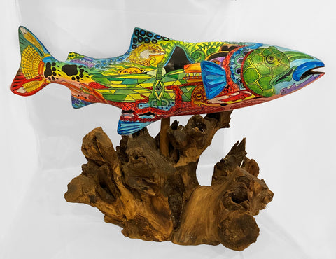 Wood Chinook Salmon Sculpture