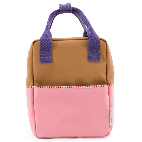 Small Color Block Backpack in Puff Pink
