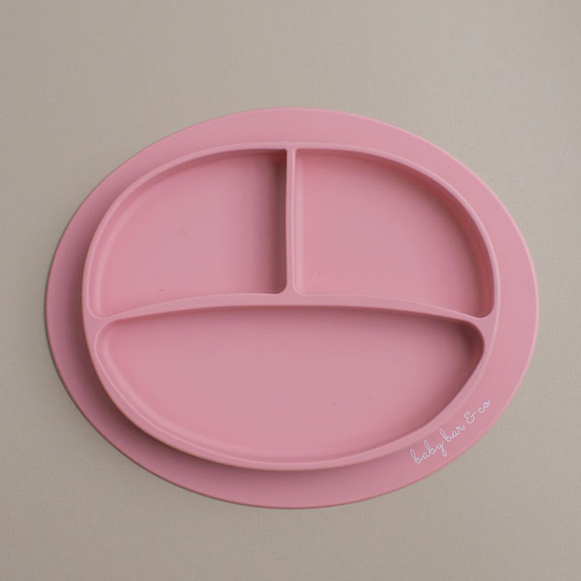 Silicone Suction Plate in Dusty Rose