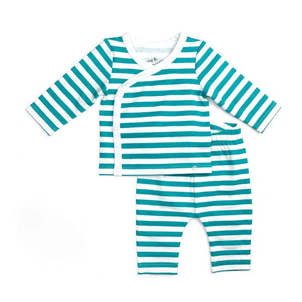 New Baby Coming Home Outfit in Peacock Stripe