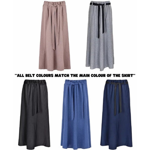 Plain Maxi Skirts With Removable Belts
