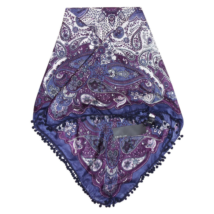 Bobble Trim Silk Scarf (Purple/Turquoise)