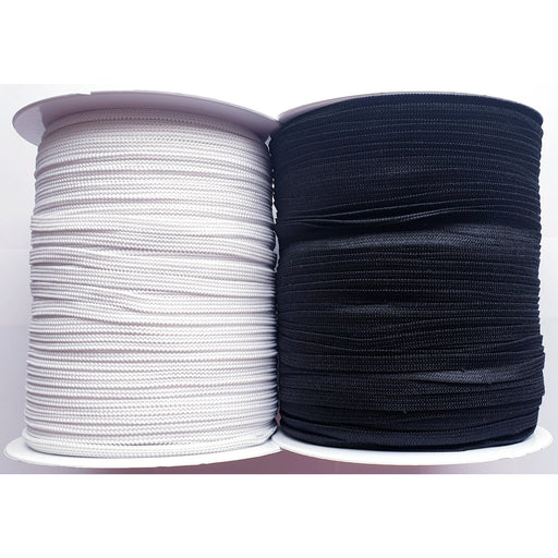"6mm 1/4"" Knitted Flat Elastic Tape - Black Or White - Sew Royal"