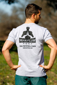 Man Flow Yoga V-Neck (Grey, Large Logo)