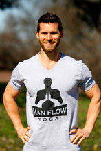 Load image into Gallery viewer, Man Flow Yoga V-Neck (Grey, Large Logo)