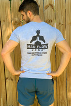 Load image into Gallery viewer, Man Flow Yoga V-Neck (Grey - Small Logo)