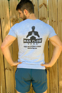Man Flow Yoga V-Neck (Grey - Small Logo)