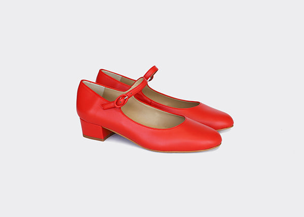 EMMA RED vegan Mary-Jane, Vegan leather