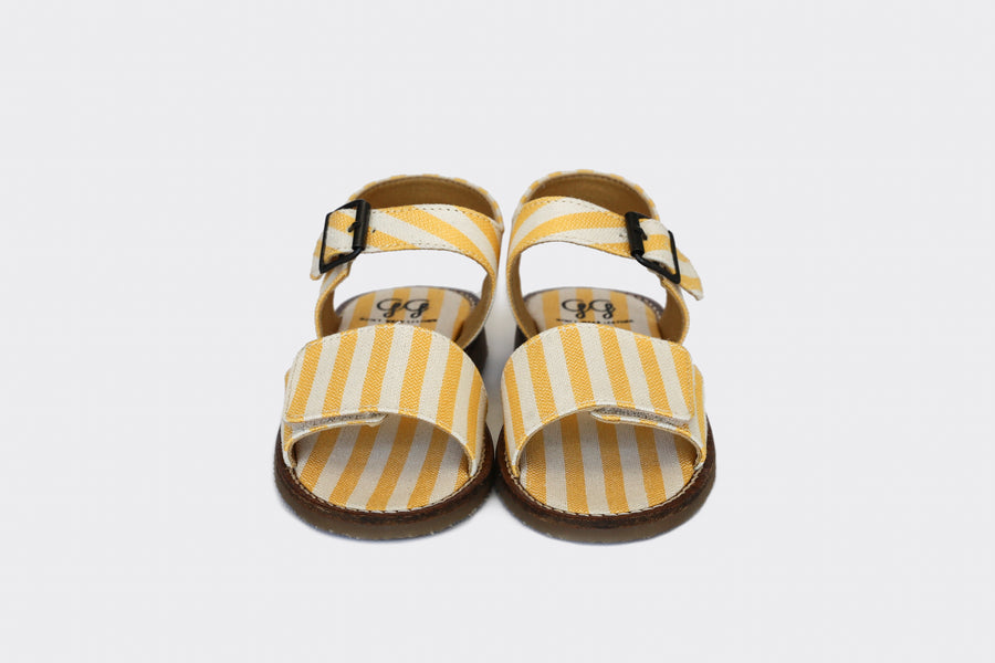 ABEL Kids sandals, Yellow Stripes, Cotton