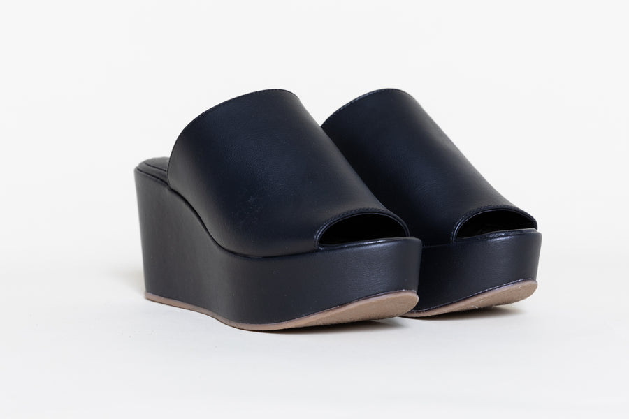 CORY BLACK platform shoes, Vegan Leather