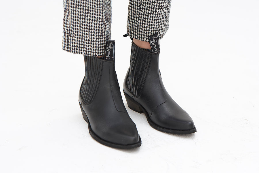 DUKE Black vegan leather cowboy boots
