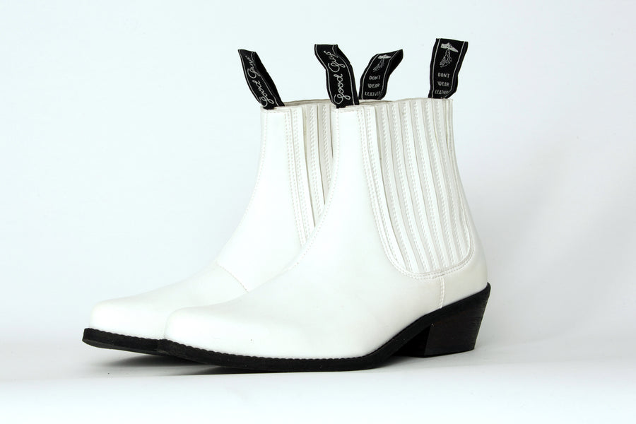 DUKE VEGAN COWBOY BOOTS | WHITE Veg Leather