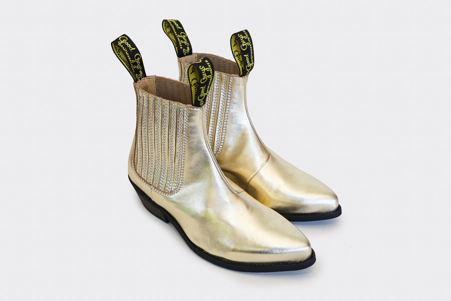 DUKE gold vegan cowboy boots