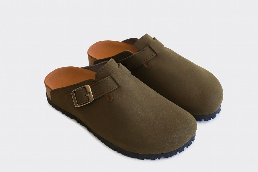 GENA Khaki Comfy Vegan Slide-On
