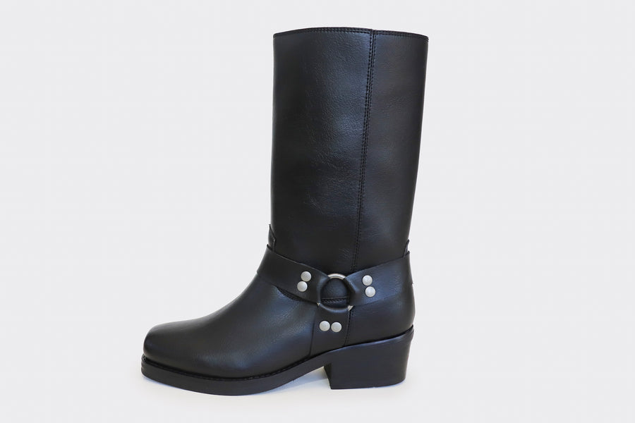 HARRY black vegan harness motorcycle boots
