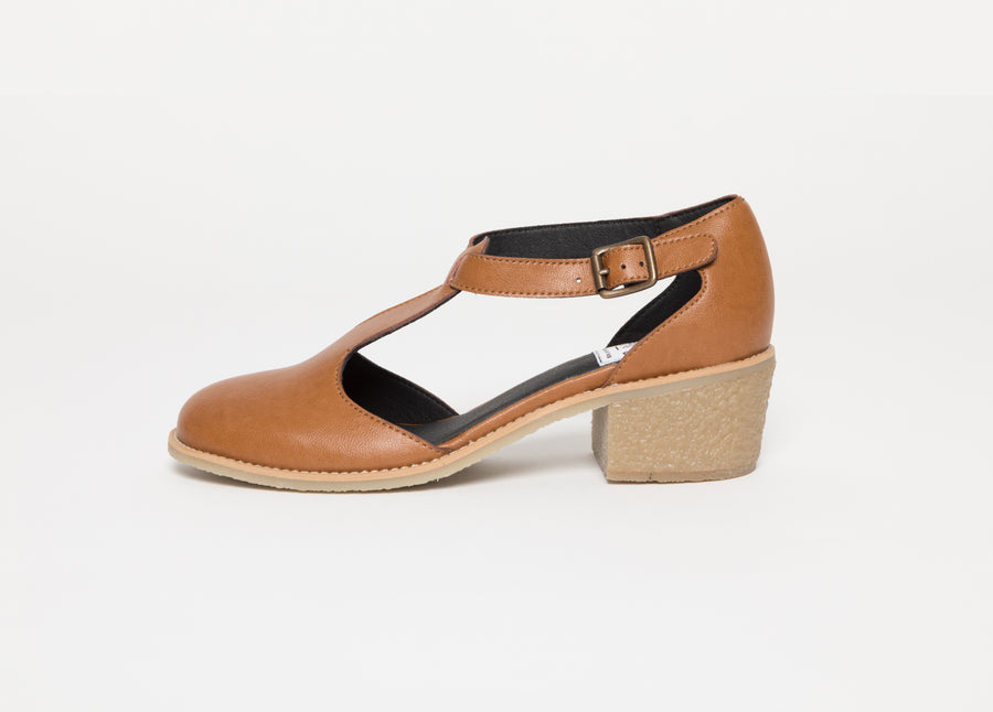 JANET BROWN T-strap sandals, Vegan leather