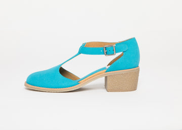JANET BABY BLUE T-strap sandals, Vegan Suede