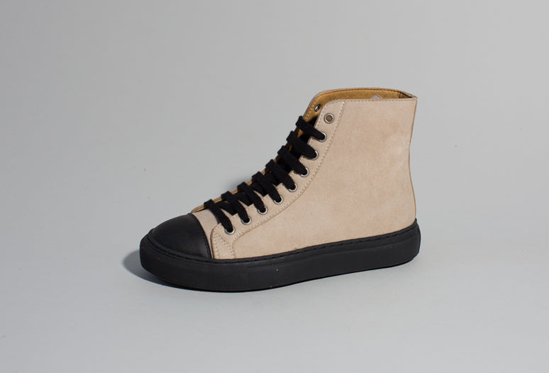 KAMO BEIGE/BLACK, vegan high top sneakers