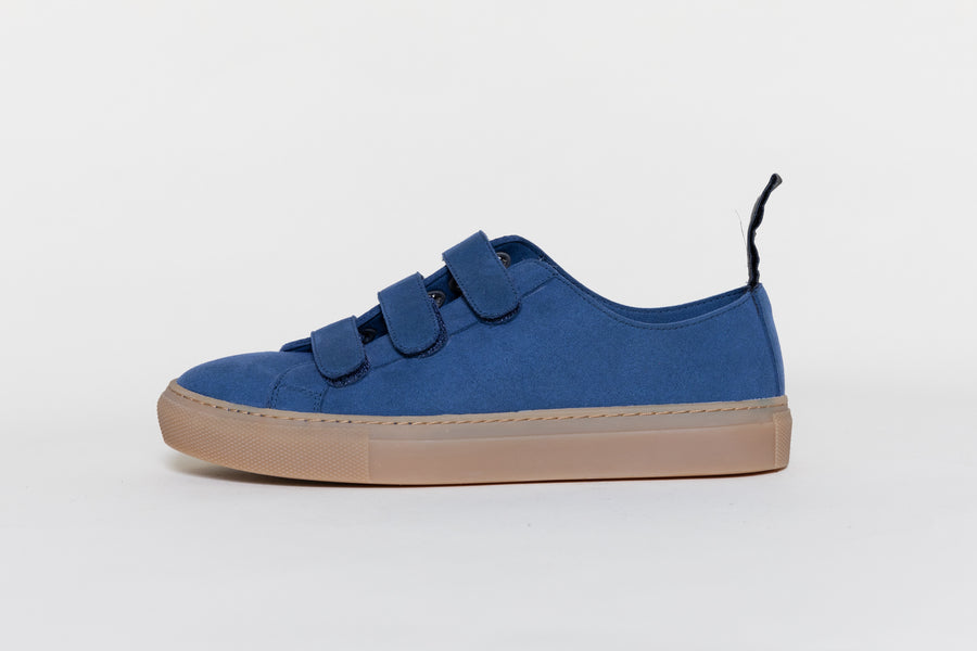 KEITH INDIGO Velcro low top sneakers, Vegan Suede