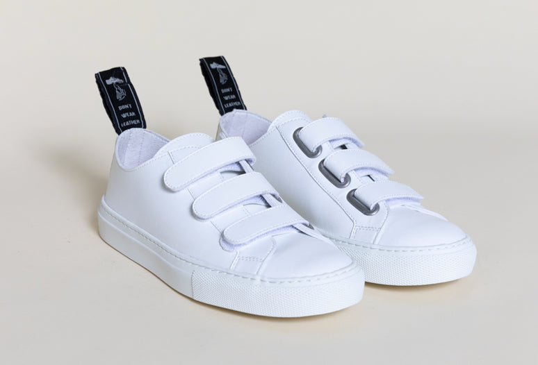 KEITH WHITE, Velcro low top sneakers, Vegan leather
