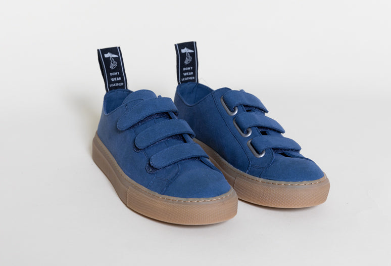 vegan velcro low top sneakers| KEITH Indigo