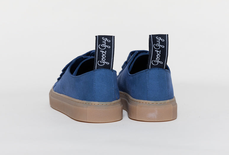 KEITH VEGAN VELCRO LOW TOP SNEAKERS | INDIGO Veg Suede