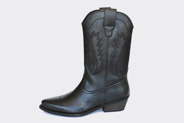 LUCKY HIGH TOP VEGAN COWBOY BOOTS | BLACK Veg Leather