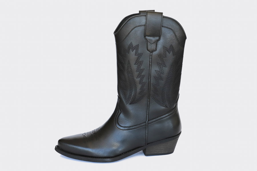 LUCKY HIGH TOP VEGAN WESTERN BOOTS | BLACK Veg Leather