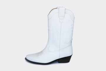 LUCKY HIGH TOP VEGAN COWBOY BOOTS | WHITE Veg Leather