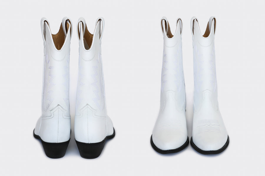 LUCKY WHITE, High top cowboy boots