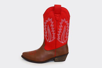LUCKY red/brown vegan western boots