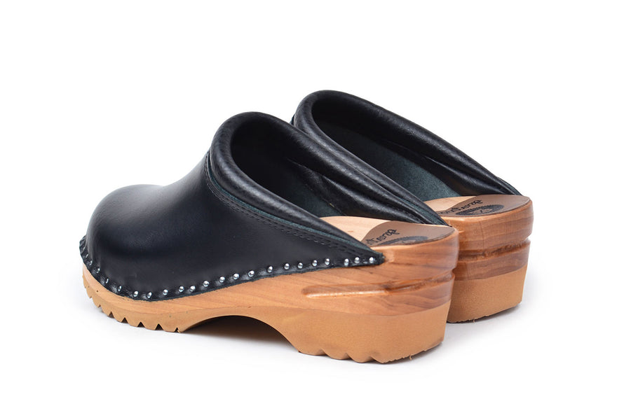 REMBRANDT black vegan slide on clogs