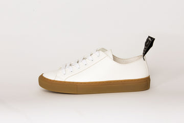 SAMO Low Top sneakers, WHITE with BROWN sole, Vegan Leather
