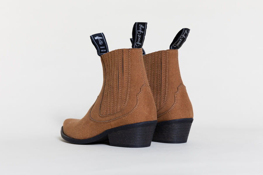 TAMMY VEGAN COWBOY BOOTS | RUSTY BROWN Veg Suede