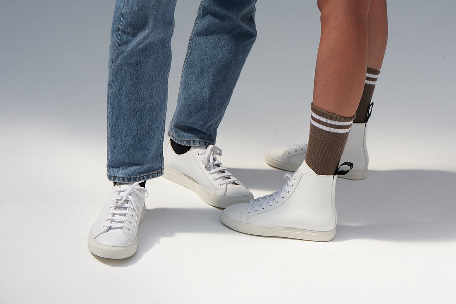 WACK White, vegan high Top sneakers, Vegan leather