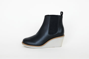 WANDA BLACK platform shoes, Vegan Leather